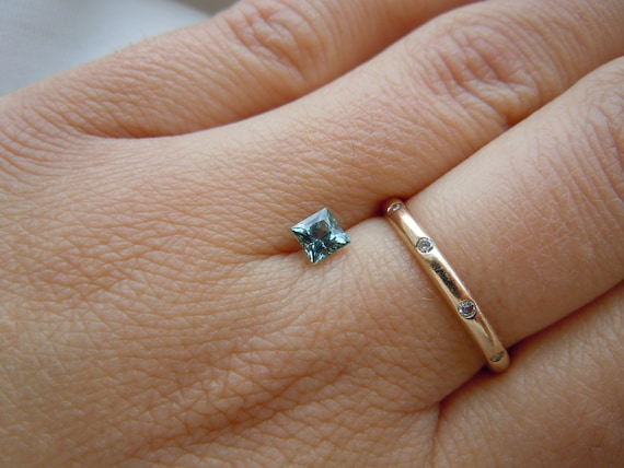 Genuine Montana Sapphire .50 carat Princess Cut Blue/Green