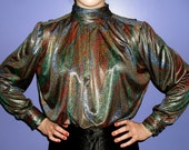 20% OFF SALE vintage discoteque blouse metallic print late 70s by Tess high shine rouched collar
