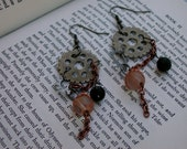 Long Steampunk Earrings with Gears, Cogs, Chains and Copper Accents