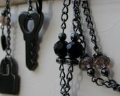 Lock and Key Goth Black Necklace and Earring Set - ON SALE