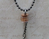 Steampunk Slim Vial / Bottle Captive Wing Necklace