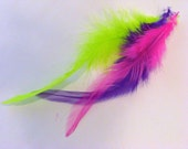 HUGE STORE SALE- Neon 3 Feather Bundle for Hair Extensions- 1 Microbead with Instillation Wire - 67