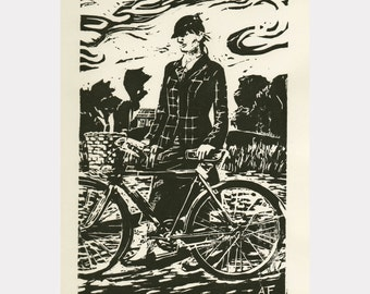 """Original, limited edition linocut """"Country Tweed"""""""