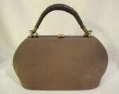 RESERVED For Elizabeth Cuadrado- Vintage 1940s Cocoa Brown Suede & Leather Handbag