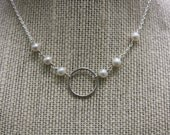 Reserved Listing for karenmerritt  Argentium Silver Hammered Eterntiy Necklace Ivory Freshwater Pearls