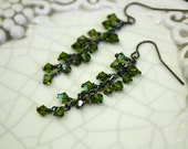 Swarovski Crystal Cluster Earrings - Olive Green Earrings