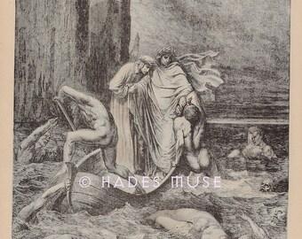 Ferryman River Styx-Hell-Thrown To Dogs-1890 Old Antique Vintage Art PRINT-Demons-Devil-Lucifer-Punishment-Torture-Lost Souls-Charon-Dante