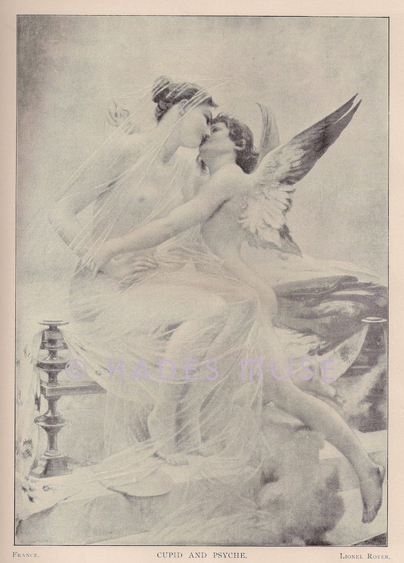 Cupid & Psyche Embrace-Kiss-LOVE-1893 Antique Vintage Art PRINT-Greek Mythology-Venus-Passion-Angel-Nude Maiden-God