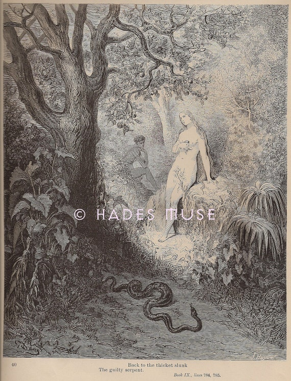 Devil Tempts Eve In Garden Of Eden-Apple-Sin-1885 by HadesMuse