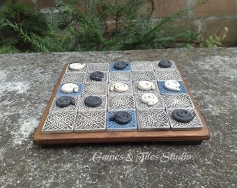 Seega Game Board in Celtic Style made of Glazed ceramic tiles - grey and blue color - Made to order