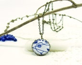 Deep Blue Flower on White Necklace (343) - FREE WORLDWIDE SHIPPING