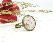 Red Beige Ring adjustable, Rustic, Burgundy, Leafs, Butterfly, Pastel (0-13R) - Free shipping