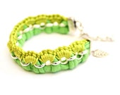bracelet neon green yellow lime jersey and silver tone rolo chain