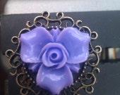 Lilac Flower Ring Ornate Scroll Adjustable In a Box OOAK