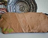 Leather Clutch Purse in Oak & Chestnut Brown : Dynamic Duo
