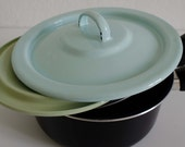 Mid-century Enamel-Coated Tin Saucepan Lids in Pastel Blue and Green