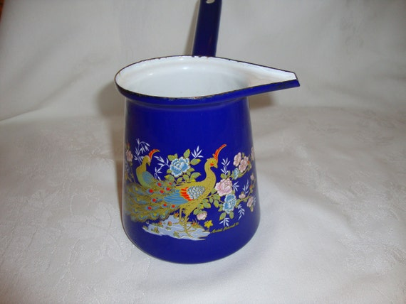 Vintage enamelware turkish pot - bright blue with peacocks signed