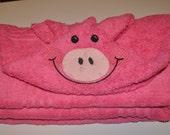 Pink Pig Hooded Bath Towel