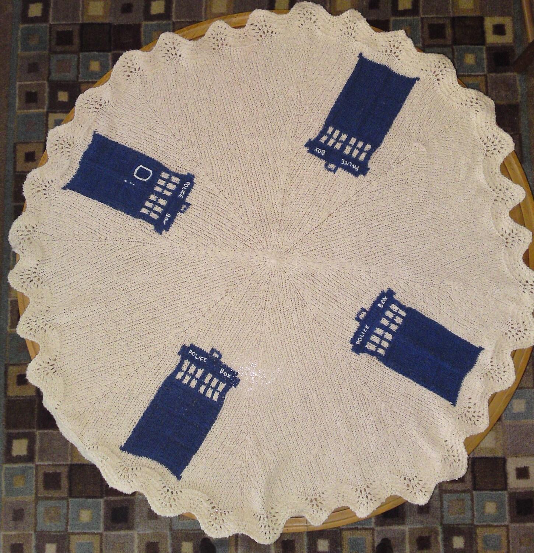 Tardis Blanket Knitting Pattern : TARDIS afghan/lap blanket by KnitterWho on Etsy