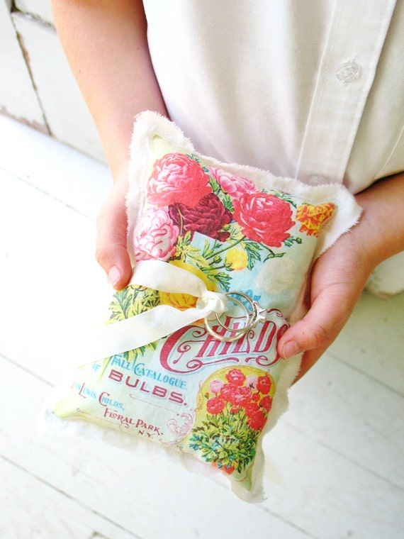 cottage garden . red and blue ring bearer pillow . vintage seed catalog with flowers . for a shabby chic wedding