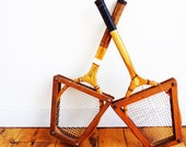 Vintage Tennis Rackets with Wood Brackets