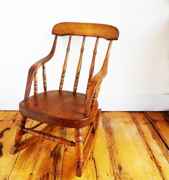 Antique Child's Rocking Chair, Plank Seat