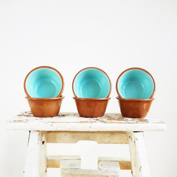 Vintage Custard Cups TST Chateau Buffet Cinnamon/Turquoise set of 6