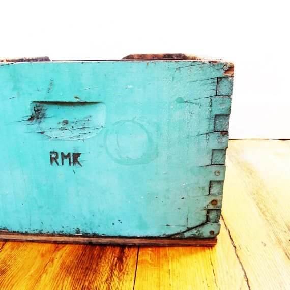 Antique Wood Crate, Turquoise Old Paint