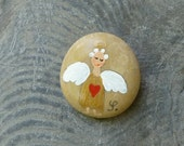 Pocket Angel Stone- Gold with Heart / original painting on stone
