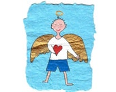 Blue Angel with Heart / original painting on handmade paper