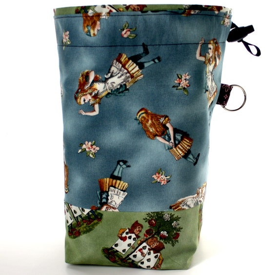 Knitting Project Bag, Alice In Wonderland, Reversible Drawstring Cord Lock Closure,Square Bottom,Blue Brown,Paint Roses Red,Supply Clip