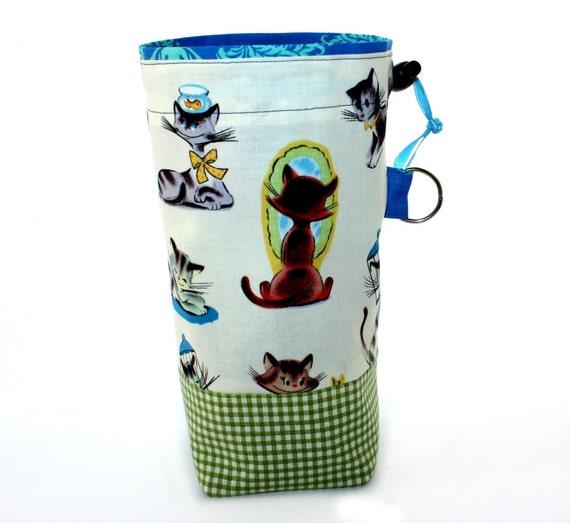 Knitting Project Bag, Small, Michael Miller Retro Cats, Drawstring Cord Lock, Square Bottom, Aqua Blue Green, Supply Clip