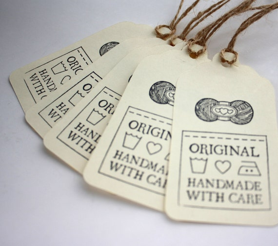 Gift Tags, Original Handmade with Care, Set of 5, for Knit, Crochet, Yarn Gifts