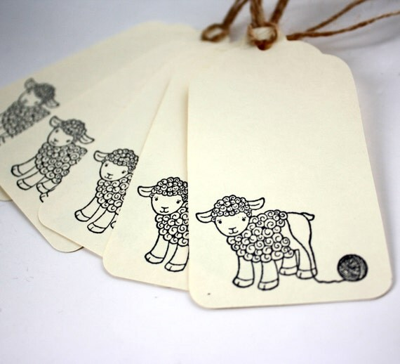 Gift Tags, Lamb Unwound, Cream Set of 5, for Knit, Crochet, Yarn Gifts