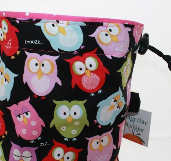 Knitting Project Bag, Owl, Reversible Drawstring Cord Lock Closure, Square Bottom, Pink Green Blue, Supply Clip