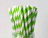 25 Lime Green Paper Straws, Party Striped Straws
