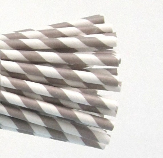 25 Grey Paper Straws, Party Striped Straws
