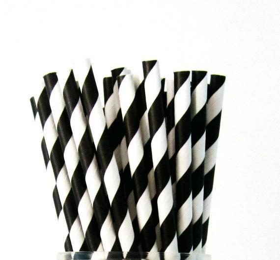 25 Black Paper Straws, Party Striped Straws
