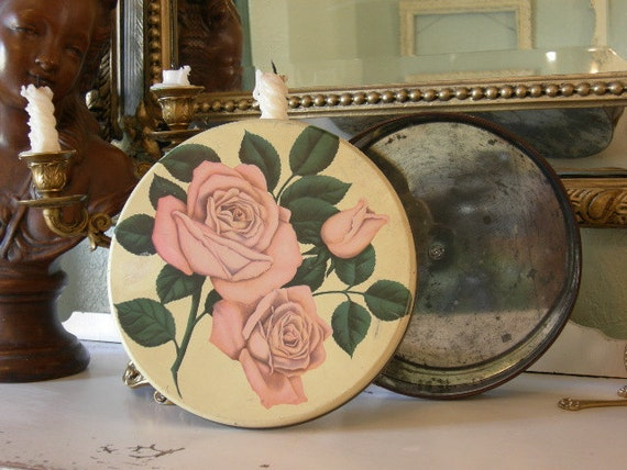 Old Roses ROUND TIN BOX Shabby Chic