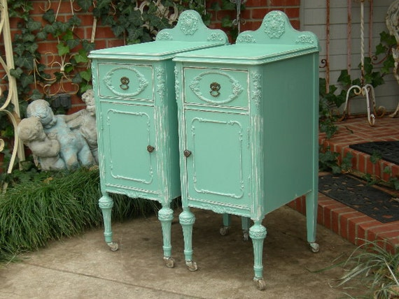 items similar to shabby chic antique nightstands bed. Black Bedroom Furniture Sets. Home Design Ideas