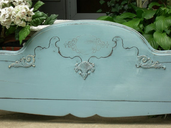 Fabulous Antique Queen or Chic Full Shabby Old HEADBOARD Distressed French Blue Furniture