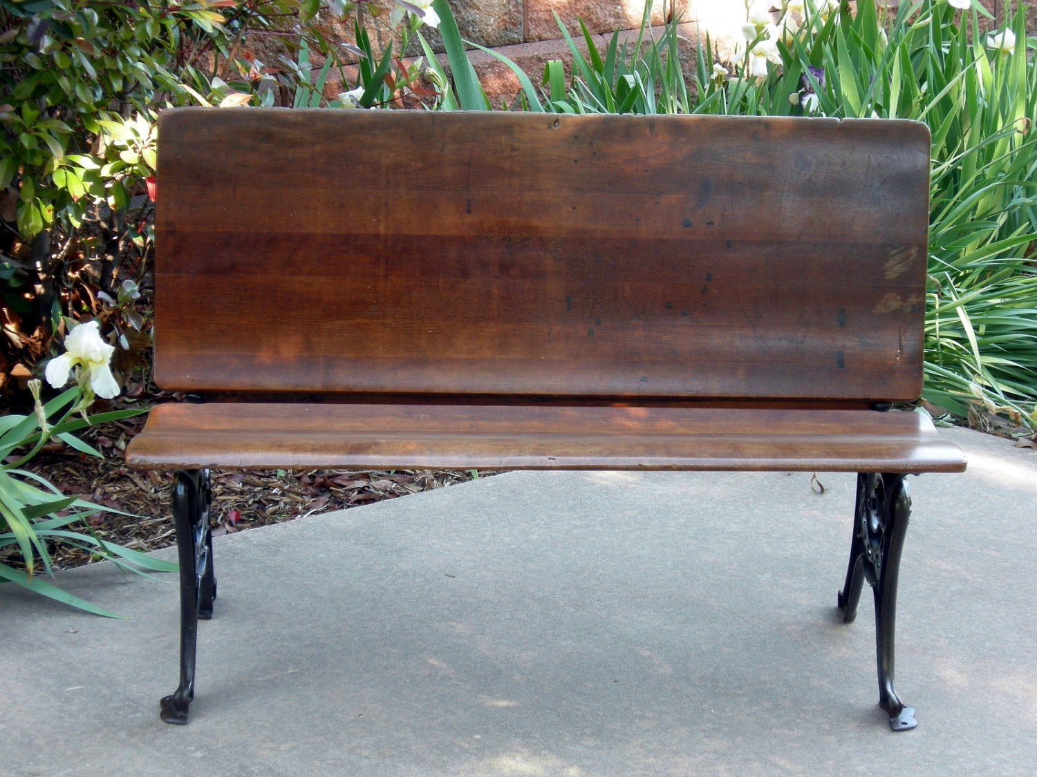 Antique School House Desk Room For 2 Folding Bench Wood And