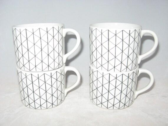 Rorstrand Sweden VENEZIA Marianne Westman Teacups or Coffee Mugs Set of 4 Mid Century Modern