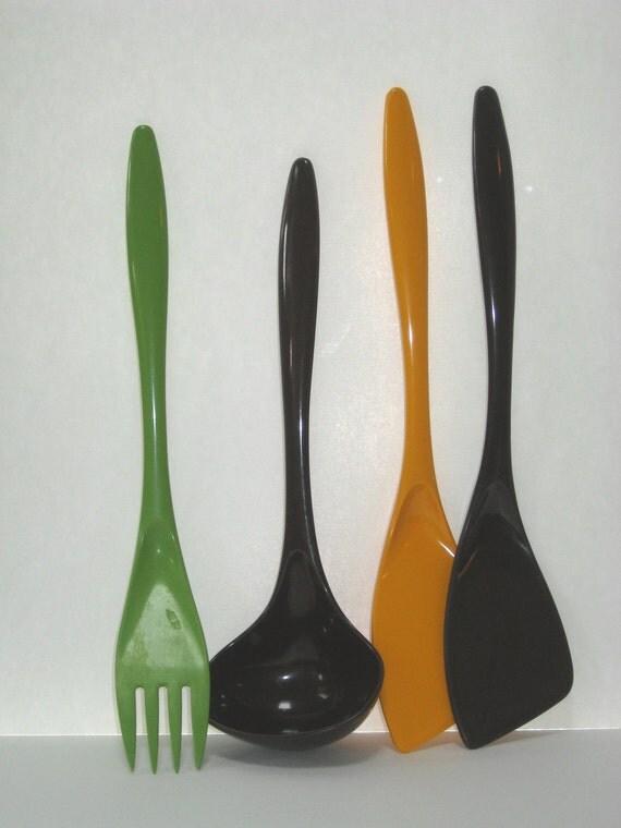 RESERVED FOR R: Set 4 Rosti Denmark Melamine Kitchen Utensils Spatula Ladle Fork - Harvest Colored Danish Modern