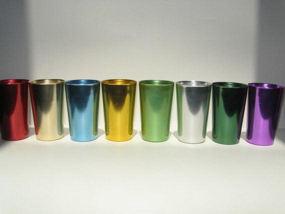 Set 8 Retro Bascal Multi Colored Aluminum Cups Tumblers Drinking Glasses Mid Century MINT