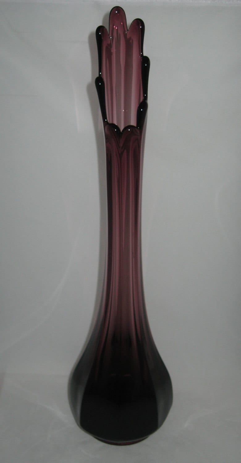 L E Smith 16 Tall 8 Sided Amethyst Faceted Swung By Modandmore