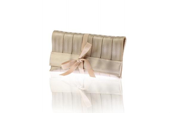 Golden clutch. Recycled seatbelt bag.