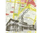 Vintage Mid Century urban New York City - NYC City Hall - NYC Map Background - 8 x 10 Print