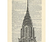 Dictionary art deco chrysler building new york skyscraper Printed on Upcycled Vintage Dictionary Paper - 7.75x11