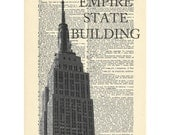Empire State Building Dictionary art vintage nyc new york art midtown on Upcycled Vintage Dictionary Paper - 7.75x11